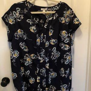 Croft & Barrow blue flowers blouse 1X
